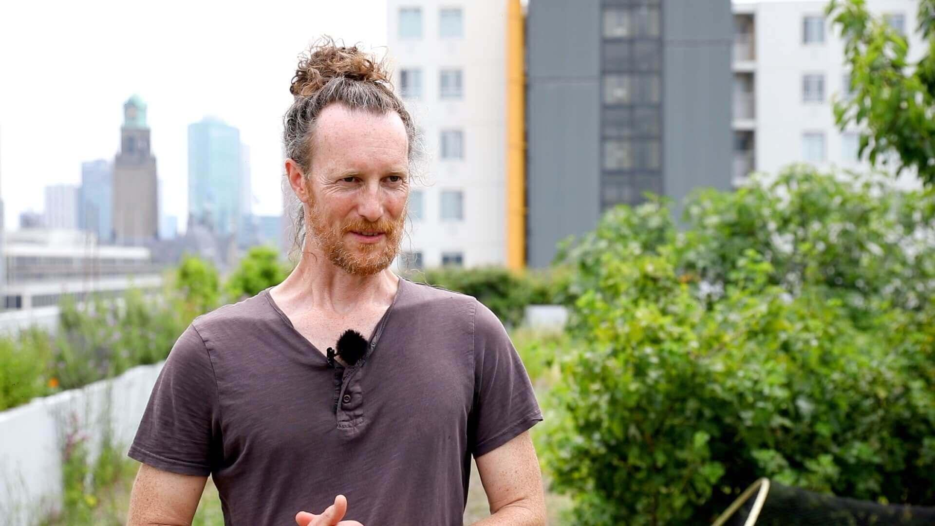 Rooftop farmer Wouter Bauman